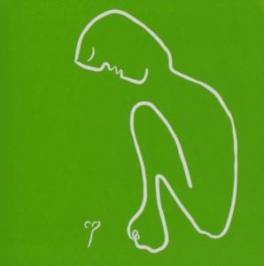 Seedling - Linocut, green ink, by Jane Bristowe