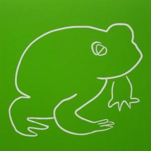 Frog - Linocut, green ink, by Jane Bristowe