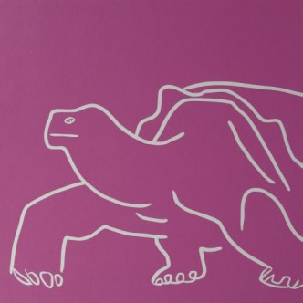 Tortoise - Linocut, dark pink ink, by Jane Bristowe