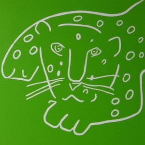 Leopard - Linocut, green ink, by Jane Bristowe