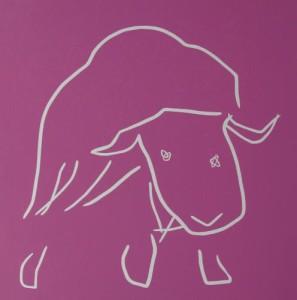Musk Oxen - Linocut, pink ink, by Jane Bristowe
