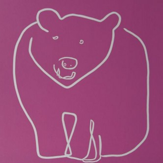 Bear - Linocut, rasberry pink ink, by Jane Bristowe