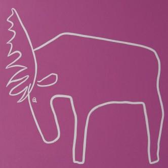 Moose - Linocut, pink ink, by Jane Bristowe