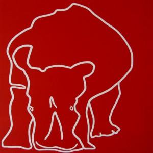 Rhino head down - Linocut, red ink, by Jane Bristowe