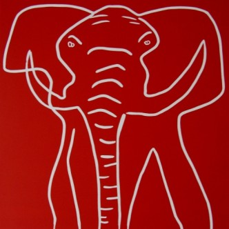 Elephant 2 - Linocut, red ink, by Jane Bristowe