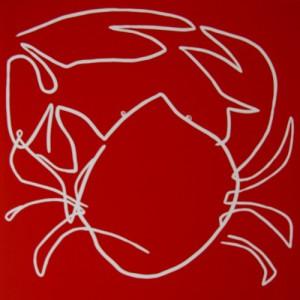 Crab - Linocut, red ink, by Jane Bristowe