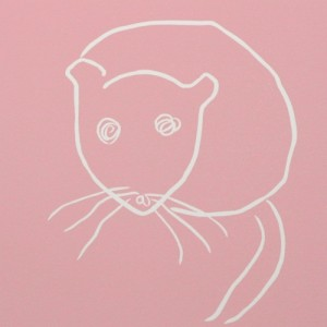 Mouse - Linocut, pink ink, by Jane Bristowe