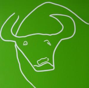 Bull's Head - Linocut, green ink, by Jane Bristowe