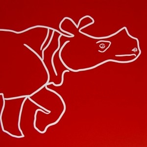 Rhino Walk - Linocut, red ink, by Jane Bristowe