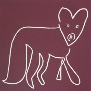 83 Fox - Linocut, plum ink, by Jane Bristowe