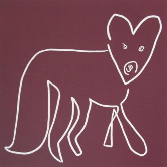 83 Fox - Linocut, plum ink, by Jane Bristowe