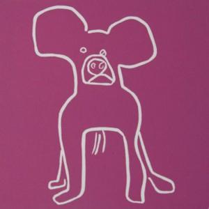 Barney,dog - Linocut, plum ink, by Jane Bristowe