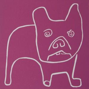 Winslow, boxer dog - Linocut, plum ink, by Jane Bristowe