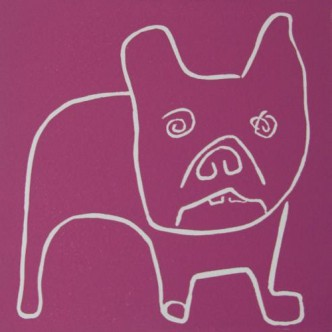 Winslow, boxer dog - Linocut, plum ink, by Jane Bristowe