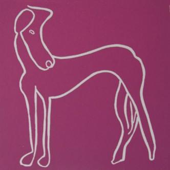 Eve, greyhound dog - Linocut, plum ink, by Jane Bristowe