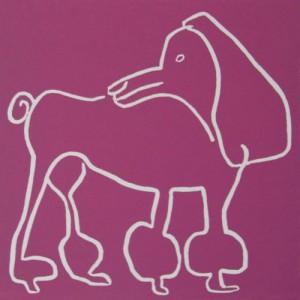 Coco, poodle dog - Linocut, plum ink, by Jane Bristowe