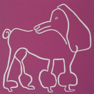Coco, poodle dog - Linocut, plum ink, by Jane Bristowe
