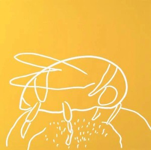 Bee - Linocut, yellow ink, by Jane Bristowe