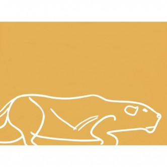 Lioness Stalking - Linocut, mustard yellow ink, by Jane Bristowe