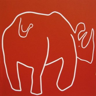 Rhino Backside - Linocut, red ink, by Jane Bristowe