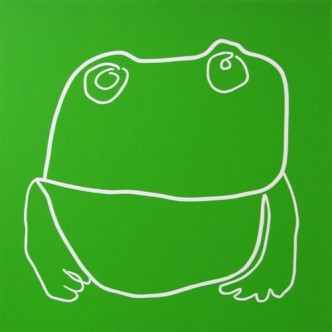 Toad - Linocut, green ink, by Jane Bristowe