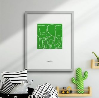 Elephant Family in green Wisque print
