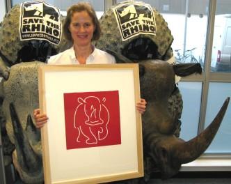 ave-the-Rhino Jane Bristowe Linocut