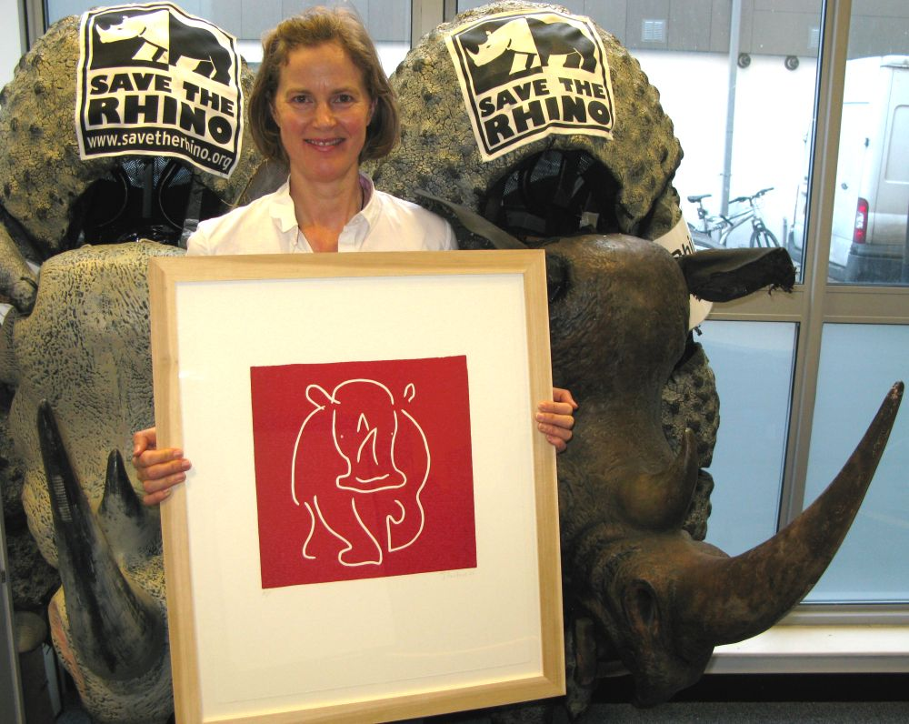 ave-the-Rhino Jane Bristowe Linocut